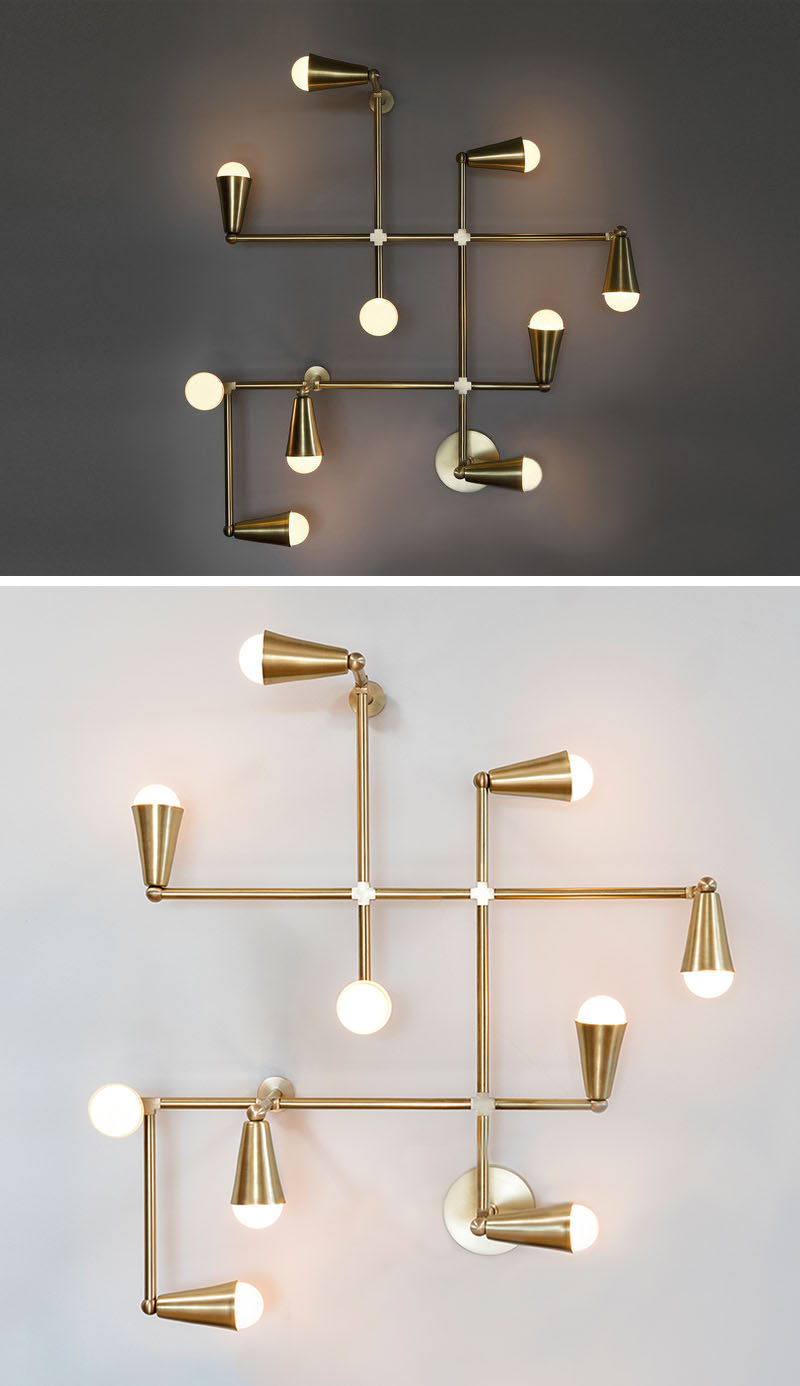 This modern brass light fixture, named Zig-Zag, can be used as a decorative wall lamp or a ceiling lamp. Perfect for creating a mid-century inspired look in your home.
