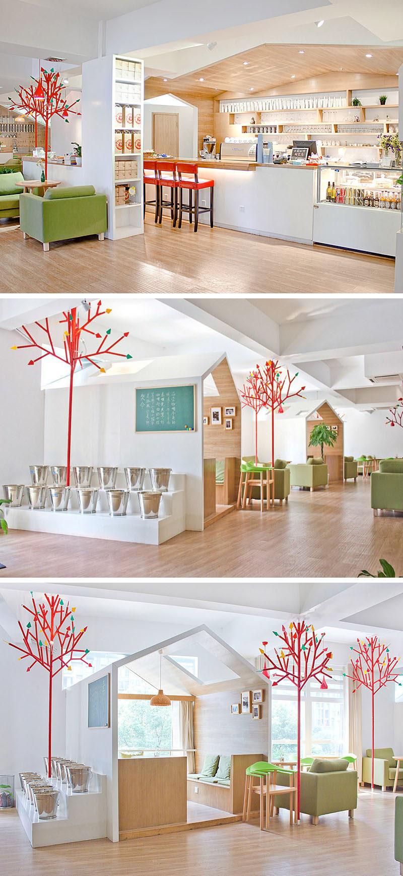 10 cửa hàng cà phê độc đáo ở Châu Á / YAMODesign Studio thiết kế Kale Cafe ở Hàng Châu, Trung Quốc với nội thất tươi sáng, đầy đủ các căn nhà nhỏ phân chia không gian và tạo những điểm ấm cúng để cuộn tròn với cà phê của bạn hoặc trò chuyện với bạn bè.