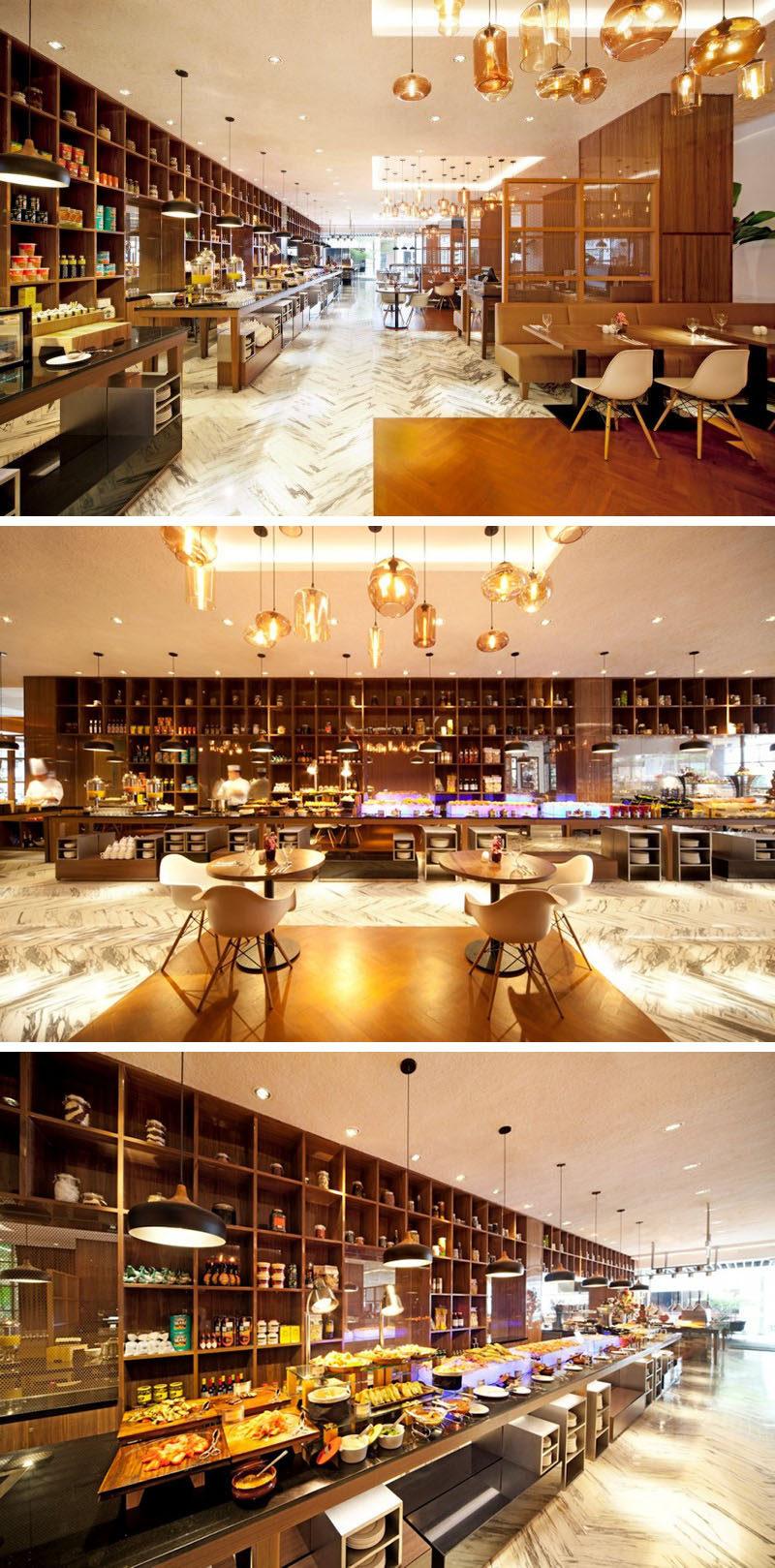 10 cửa hàng cà phê độc đáo ở Châu Á / designphse dba đã thiết kế nhà hàng Element Cafe ở Singapore, một quán cà phê sang trọng gắn liền với khách sạn có sàn lát đá cẩm thạch, chi tiết bằng vàng và những tông màu phong phú để tạo bầu không khí ấm cúng, lãng mạn.