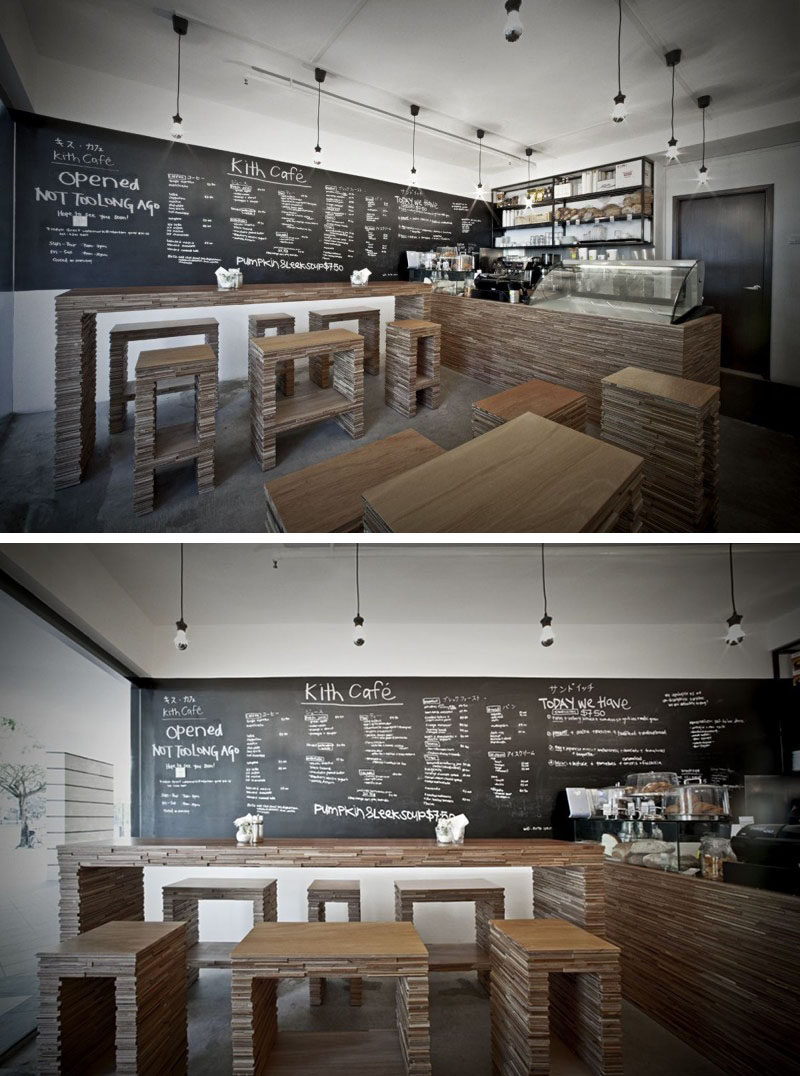10 cửa hàng cà phê độc đáo ở Châu Á / Thiết kế tập thể Hjgher đã thiết kế Kith Cafe, một quán cà phê đơn giản gần Sông Singapore, nơi mà đồ nội thất được chế tạo từ gỗ dán mỏng được cắt và chồng lên nhau để giữ cho không gian trở nên tự nhiên nhưng hiện đại.