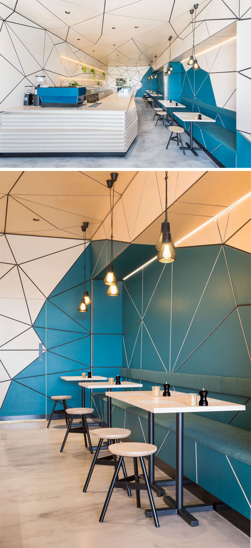 This modern coffee shop features wood and painted geometric panels all over the walls and ceiling.