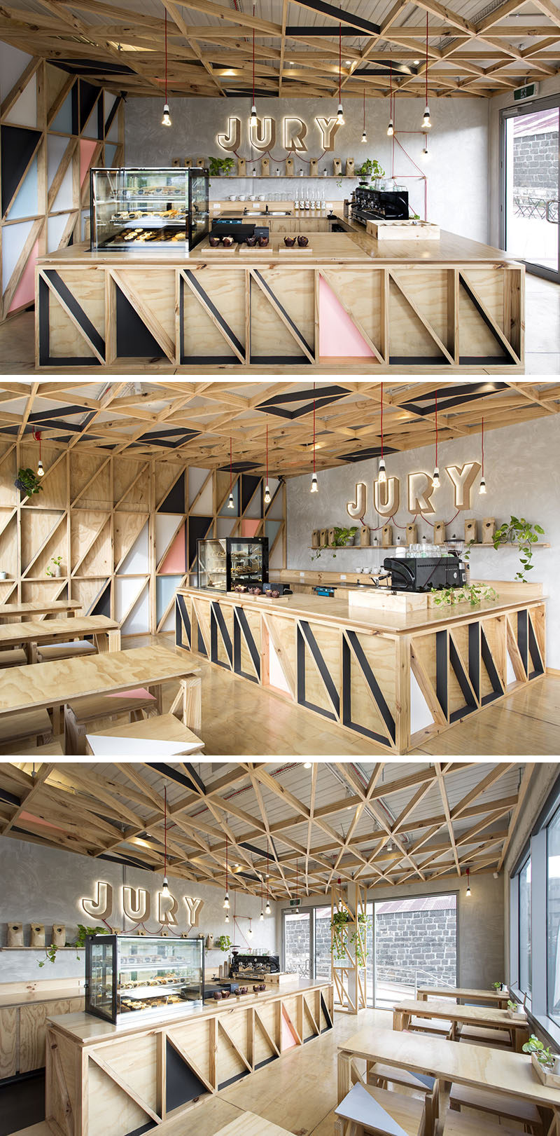 This modern coffee shop has been designed with a diagonal wood pattern on the wall, ceiling and bar front.