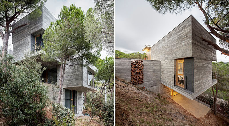 13 modern house exteriors made from concrete contemporist for Modern house design on hillside