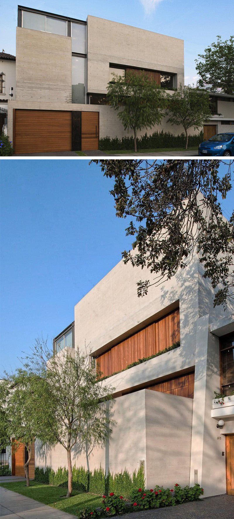 13 Modern House Exteriors Made From Concrete | Although the majority of this house made from concrete, the wood on the front door, garage door and windows gives it a warm and inviting look.