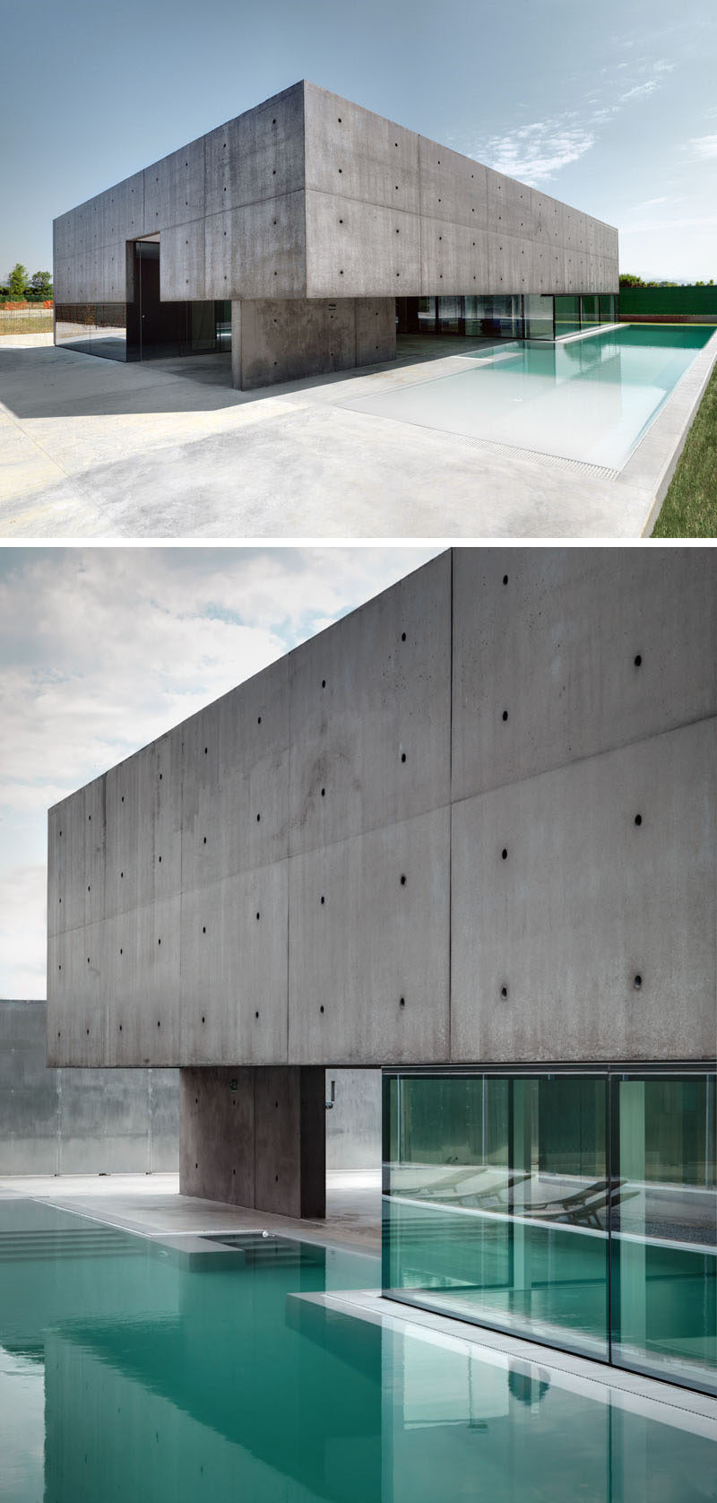 13 Modern House Exteriors Made From Concrete | This box-like concrete home sits on top of a base of windows that make it look like it's hovering next to the blue pool.