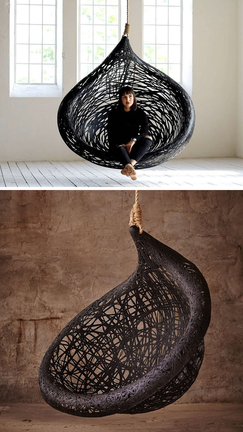 Designer Raimonds Cirulis of Maffam has created the dramatic looking Ibis Hanging Chair, that's made from volcanic basalt fibre and natural resin.