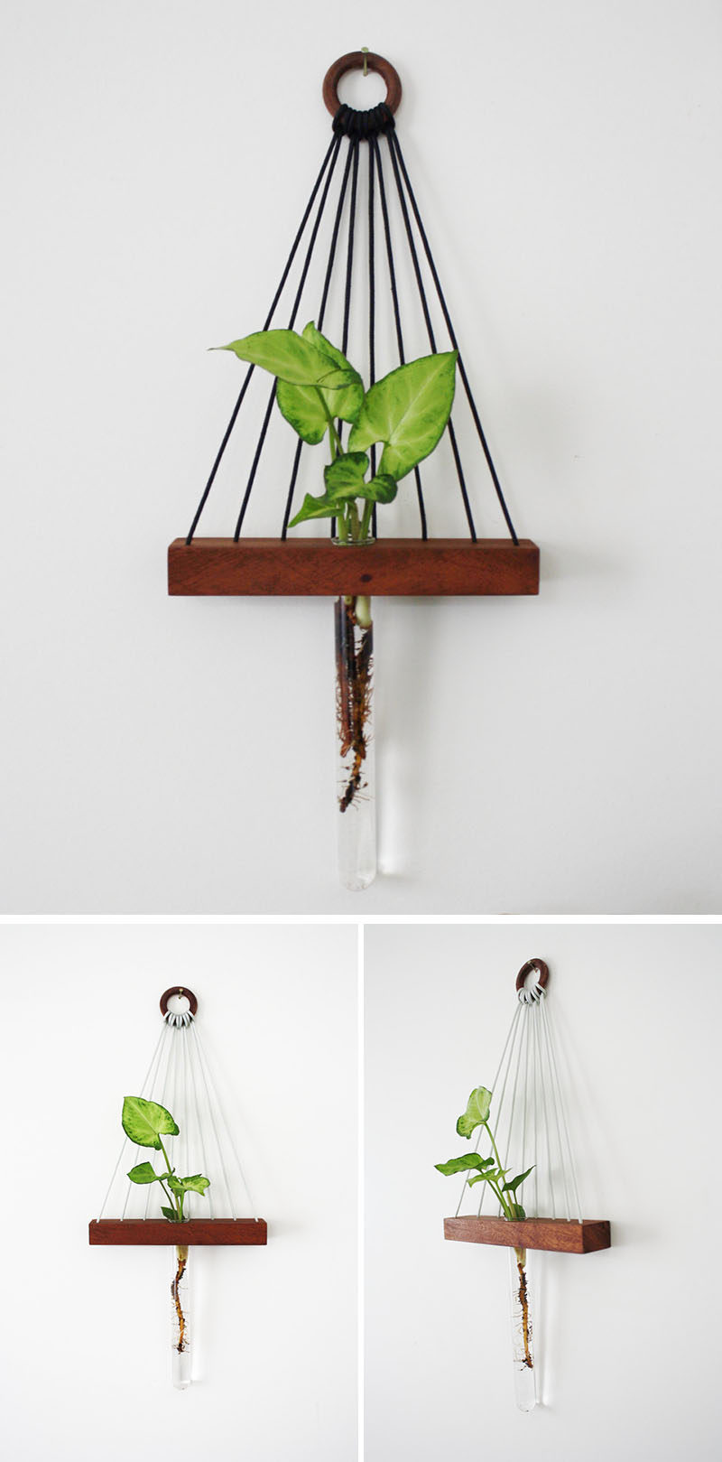 These modern hanging wall shelves made from reclaimed wood have a ledge to display a little trinket and a bud vase for a flower.