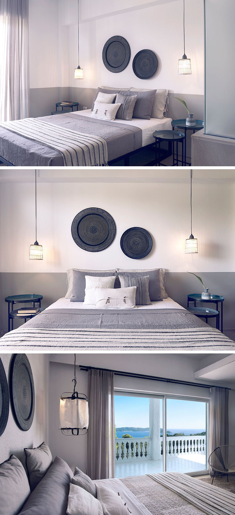This modern hotel room from a hotel in Greece, has white walls with a lower grey stripe, decorative floor tiles, wall decor and glass room dividers separating the bathroom from the bedroom to create a Mediterranean style interior.