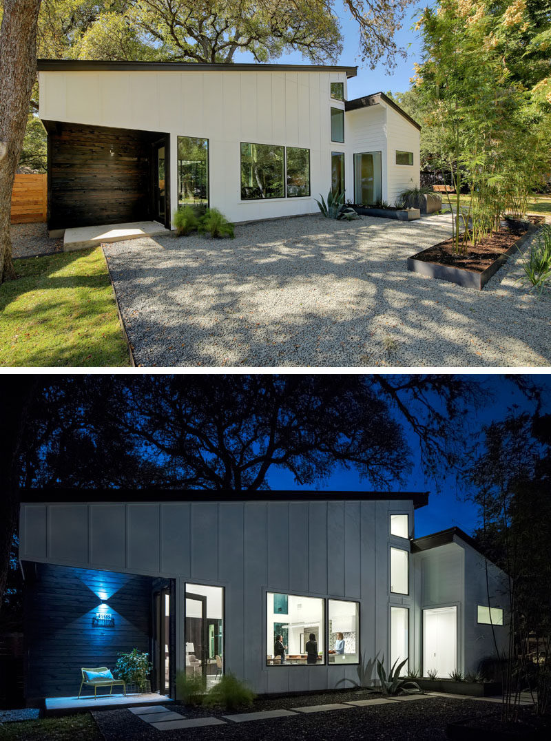 At the front of this modern house in Austin, Texas, simple gravel and grass landscaping has been broken up by rectangular steel planters, while dark wood has been used to highlight the home's entrance.