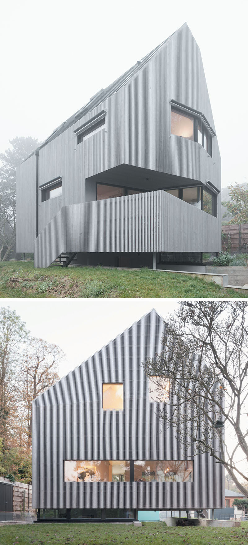 The garden and carport that run underneath this modern house in France, help to make the house appear to float above the land.