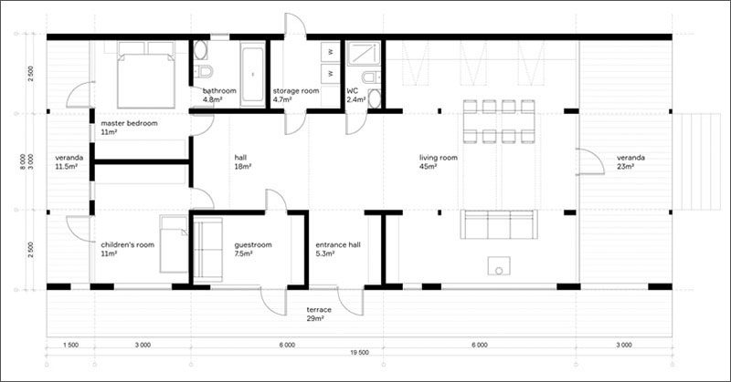 Here's a look at the floor plan of a modular rustic modern house, which took about 10 days to install with minimal disruption to the site and the environment.