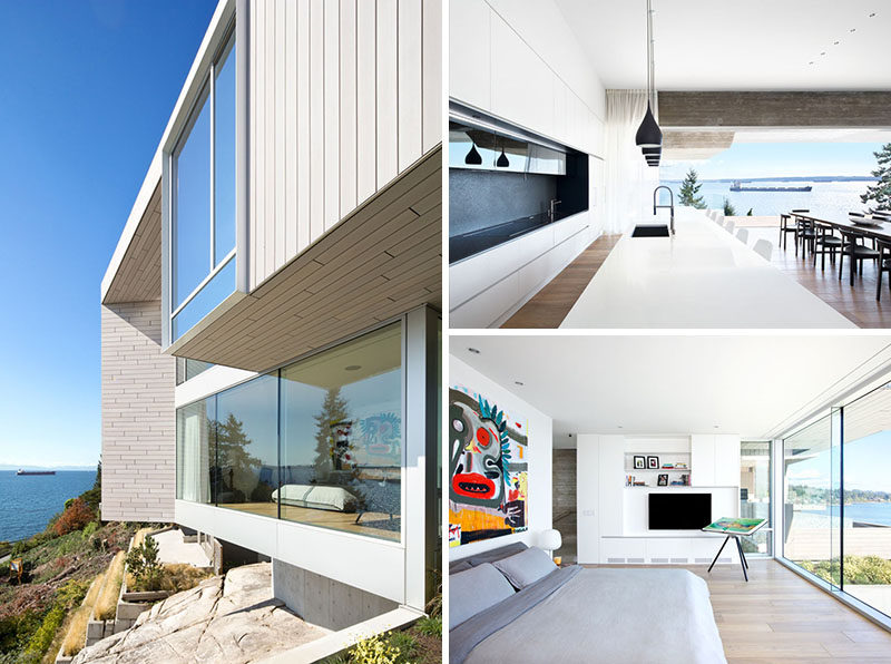 This concrete and wood split-level modern house opens up to have views of the ocean.