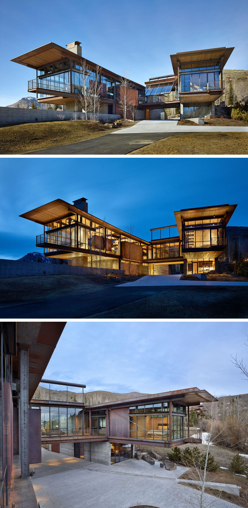 Elements of concrete and wood have been paired with steel and glass in this modern industrial home, like in the bright that connects the two sides of the home, and a glass wall that pivots open.