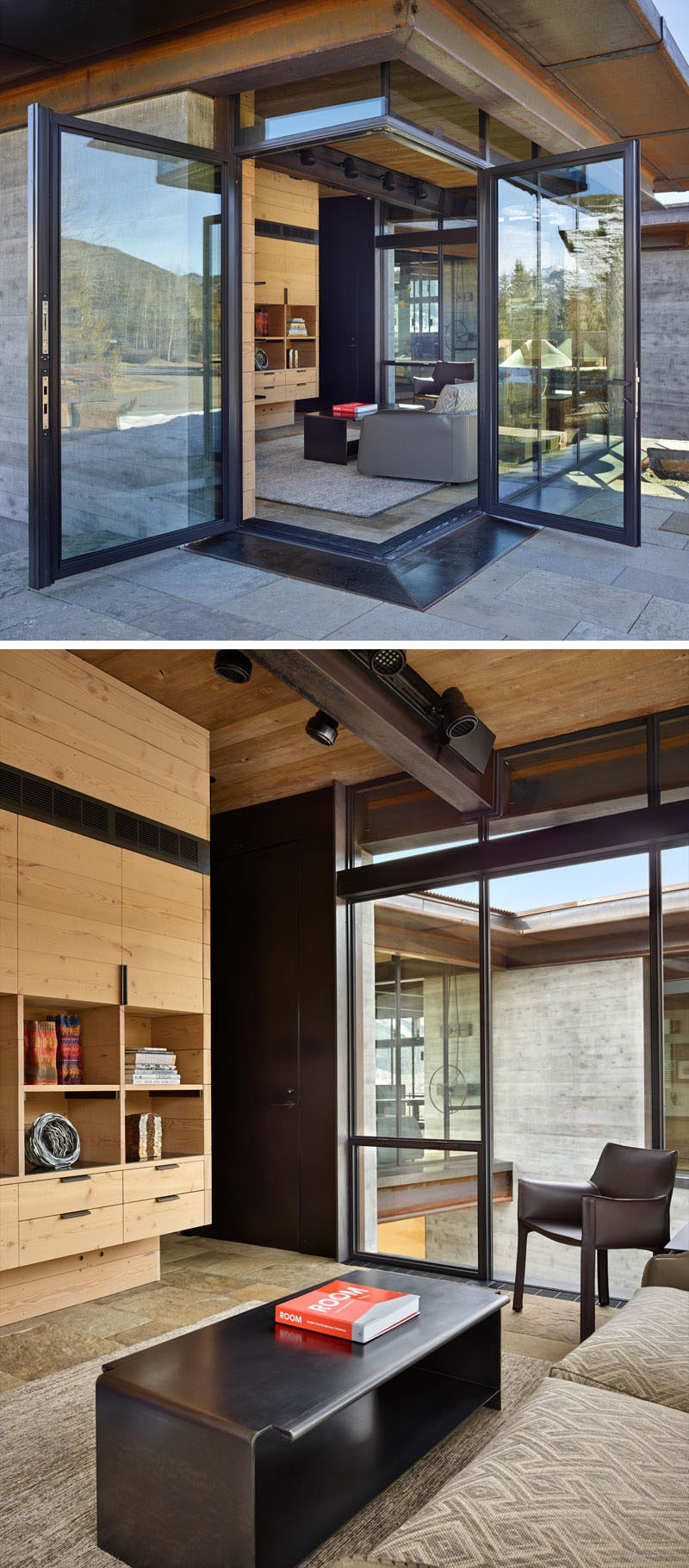 Corner doors open a small living room (or home office) to the outdoors. Black door and window frames match the steel coffee table and the beams in the home.