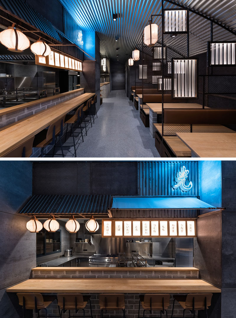 industrial interior design - this restaurant and bar goes for a