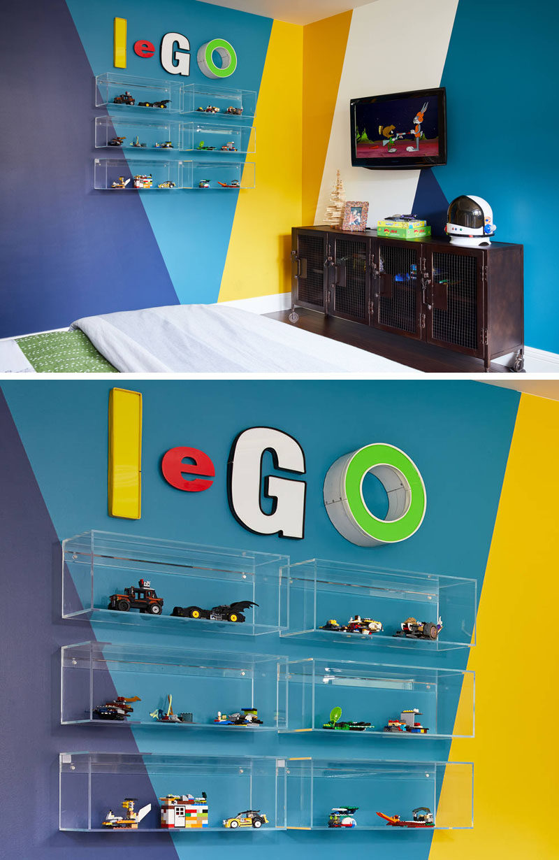 In this kids bedroom design, clear acrylic shelves were mounted to the wall as a way to display Lego creations.