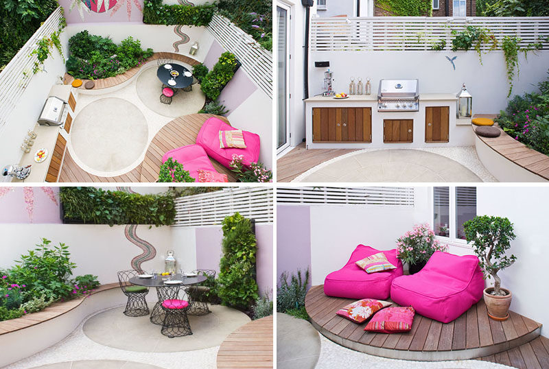 Germinate Garden Design have created a modern landscaped garden that features a kitchen and dining area, a lounge area, raised garden beds and a wall mosaic