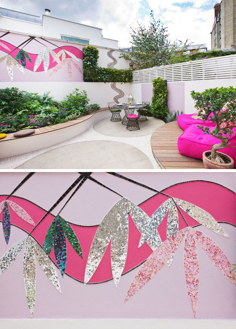 Backyard Landscaping Ideas - This small patio space is ready for a party with its built-in BBQ and plenty of seating