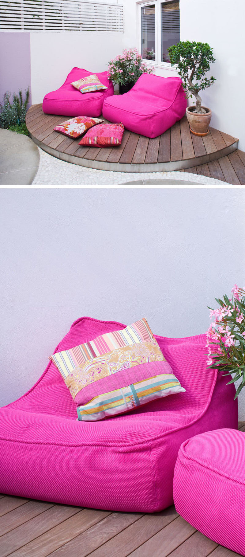 In this modern garden there's a relaxed seating area with soft, bright pink lounge chairs that sit on a raised platform.