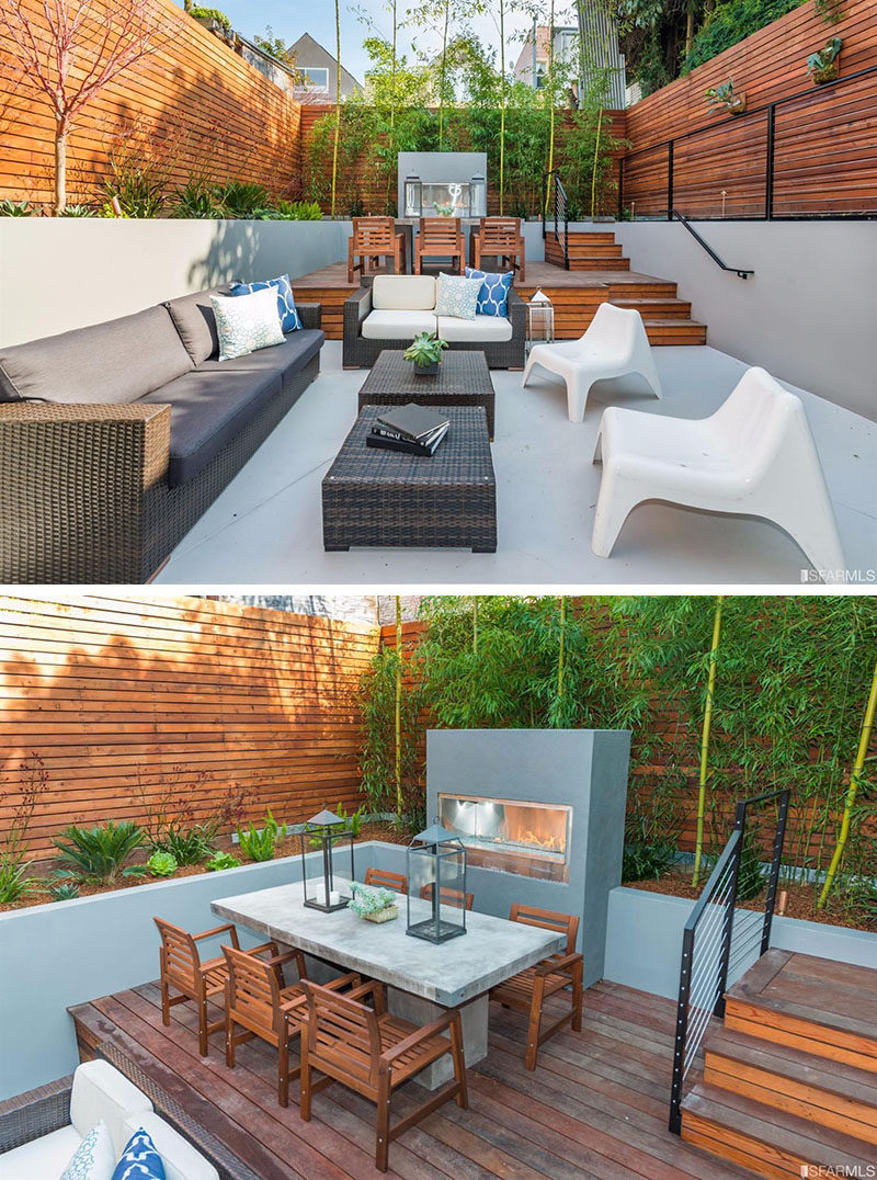 Backyard Design Ideas - When designing your backyard, no matter how large or small, it is important to have clearly defined areas, and one way you can create this, is by using height or different levels. This backyard uses different levels to create space for the outdoor dining room and outdoor living room.