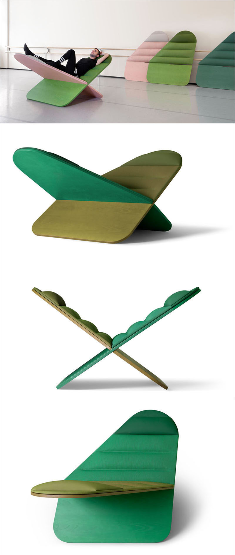 This modern lounge chair named Daydream, was inspired by the symbol for infinity. The chair design includes two interlocking panels made from a timber frame upholstered with Kvadrat textiles.