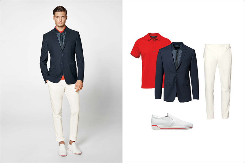 Men's Fashion Ideas - 17 Men's Outfits From Porsche Design's 2017 Spring/Summer Collection | A fiery red polo shirt, a navy blazer-vest combo, white cotton blend pants, and white shoes with a touch of red create a sophisticated yet casual looking men's outfit.