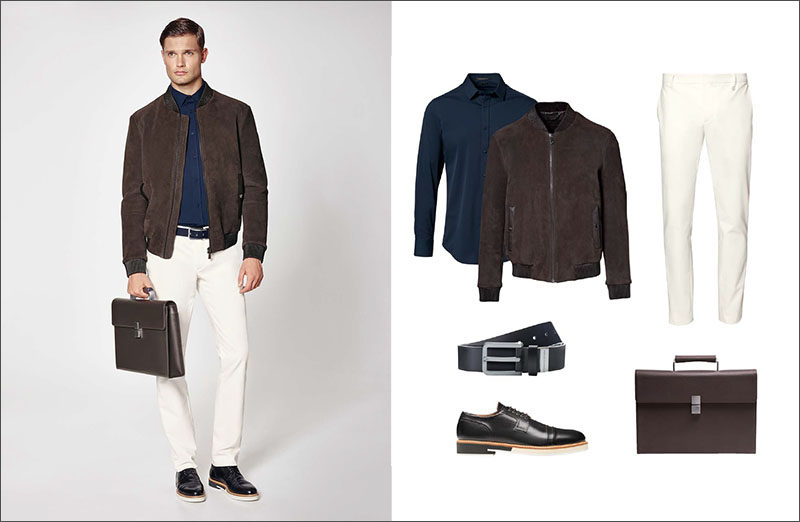 Men's Fashion Ideas - 17 Men's Outfits From Porsche Design's 2017 Spring/Summer Collection | This men's outfit features clean white pants, a simple navy collared shirt, a brown suede jacket, a brown leather briefcase, black leather shoes and a black leather belt.