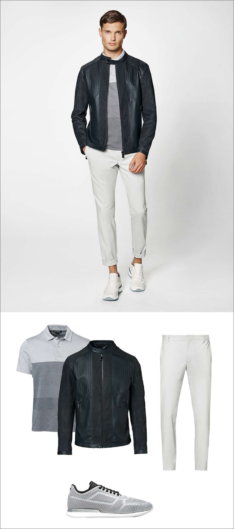 Men's Fashion Ideas - 17 Men's Outfits From Porsche Design's 2017 Spring/Summer Collection | This men's outfit was created by pairing a striped polo shirt with a dark leather jacket featuring TecFlex embossing, and a simple pair of grey mesh sneakers.