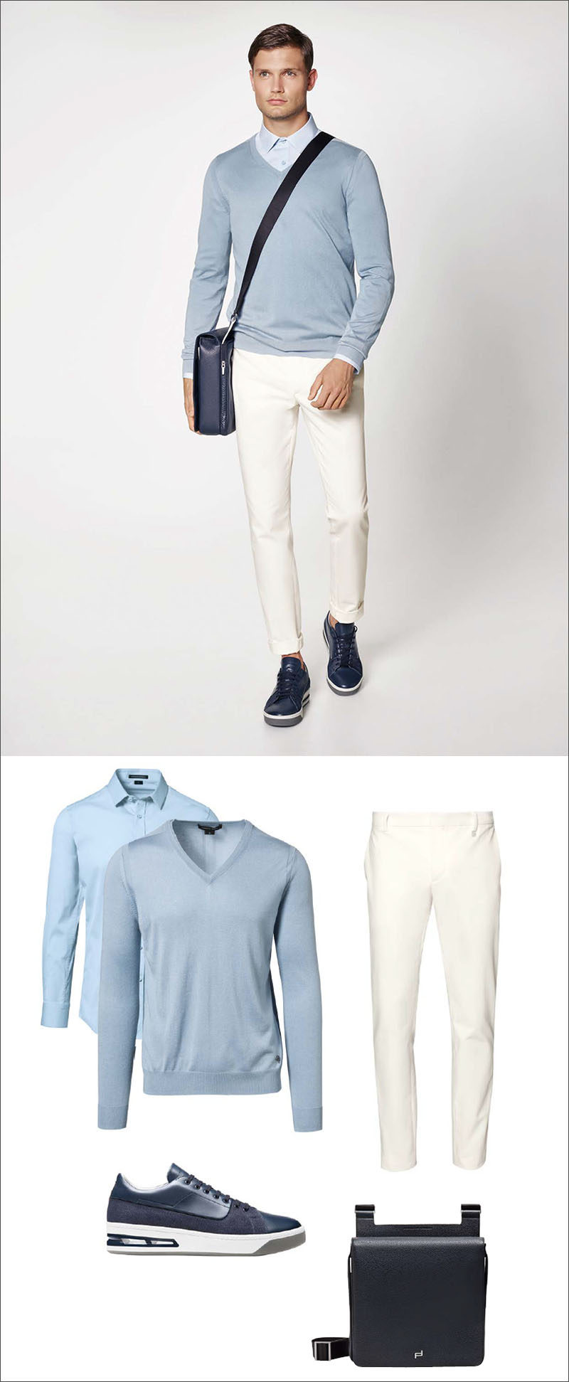 Men's Fashion Ideas - 17 Men's Outfits From Porsche Design's 2017 Spring/Summer Collection | Switch out the blazer for a navy leather shoulder bag and you're left with a simple but classy outfit made up of a blue collared shirt, a blue v-neck, white pants, and navy sneakers.