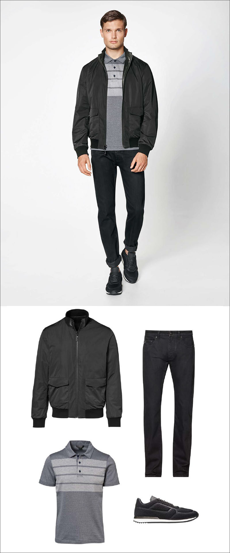 Men's Fashion Ideas - 17 Men's Outfits From Porsche Design's 2017 Spring/Summer Collection | Create a casual everyday men's outfit by pairing a black jacket with a simple grey polo, black jeans, and a pair of black mesh sneakers.