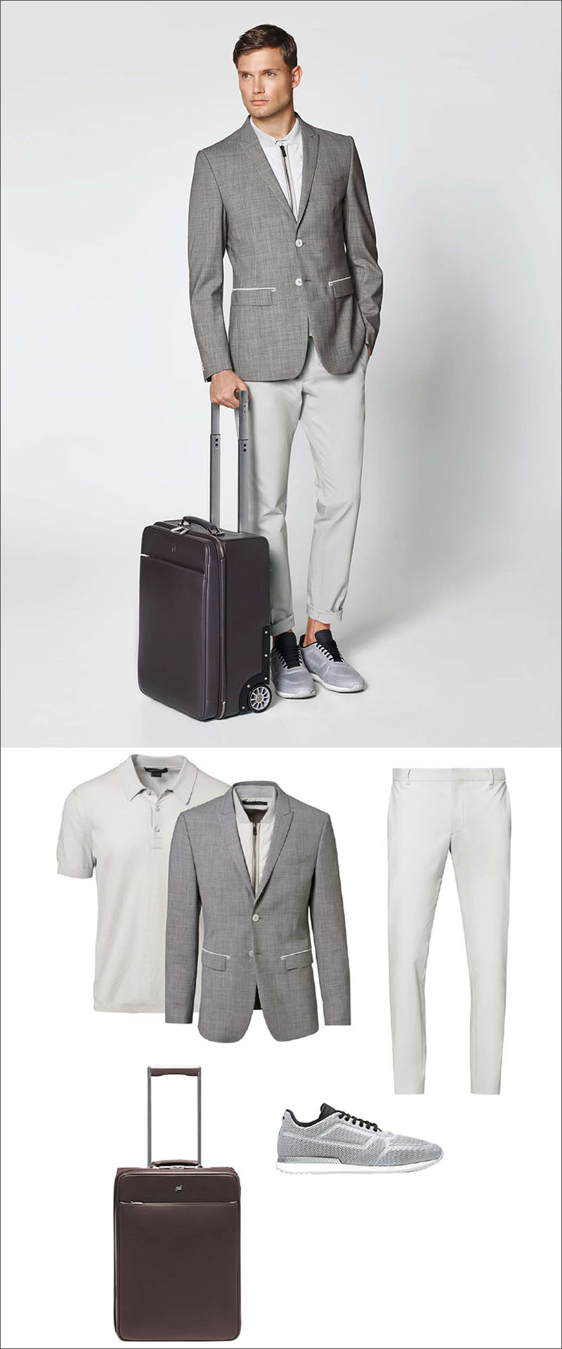 Men's Fashion Ideas - 17 Men's Outfits From Porsche Design's 2017 Spring/Summer Collection | A heather grey men's blazer with a built in removable vest for extra warmth, a pair of casual grey mesh sneakers, a pair of light grey pants, a polo shirt also in light grey, and a dark brown suitcase are the simple pieces that make up this men's outfit.