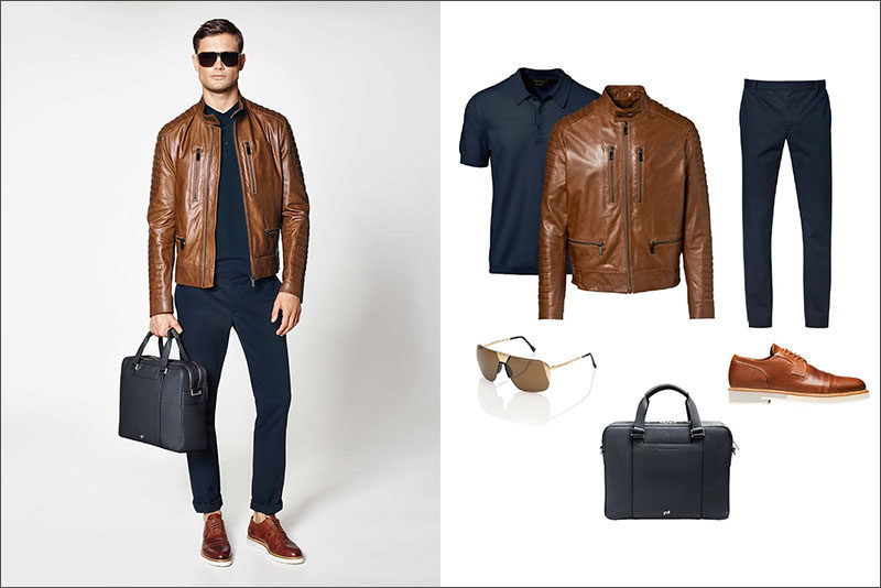 Men's Fashion Ideas - 17 Men's Outfits From Porsche Design's 2017 Spring/Summer Collection | A brown leather jacket and matching brown leather shoes pair with navy cotton pants, a navy polo, a navy briefcase, and gold sunglasses to complete this stylish men's outfit.