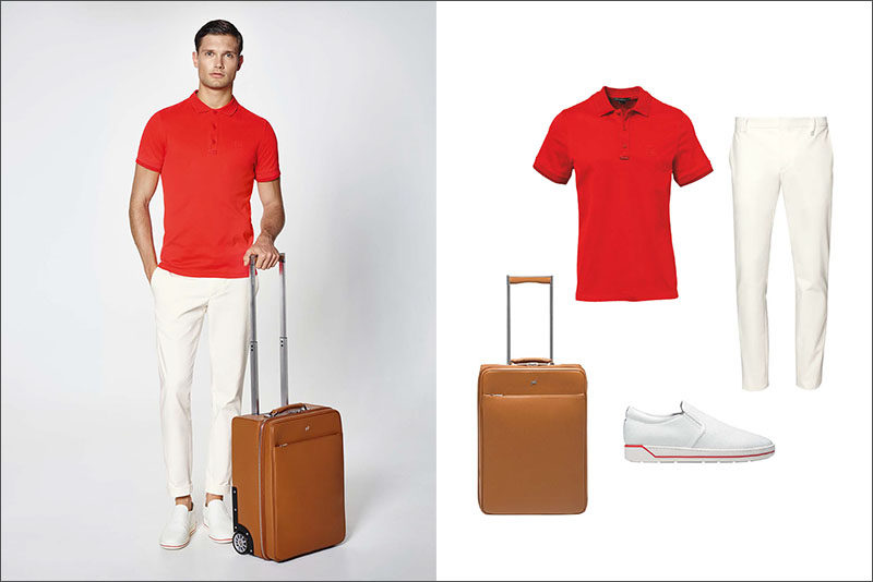 Men's Fashion Ideas - 17 Men's Outfits From Porsche Design's 2017 Spring/Summer Collection | This casual men's outfit combines a red polo with white cotton pants, a pair of red and white slip on sneakers, and a light brown suitcase.