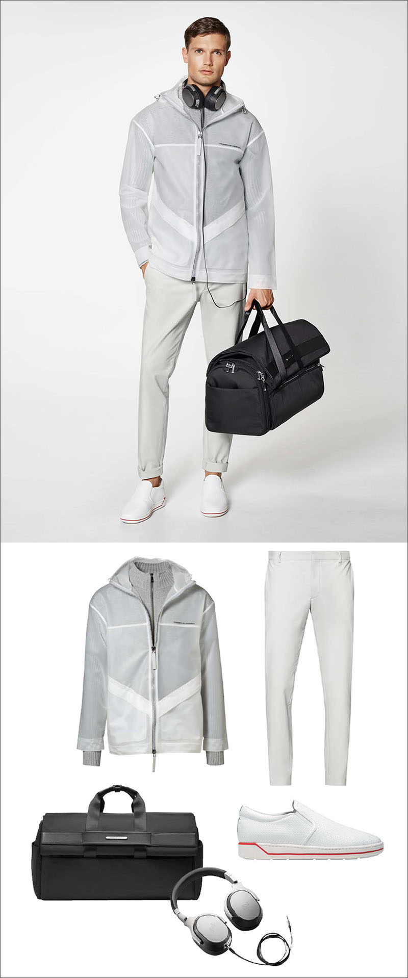 Men's Fashion Ideas - 17 Men's Outfits From Porsche Design's 2017 Spring/Summer Collection | A white and light grey jacket, a pair of cotton blend pants, a pair of white sneakers with a red stripe, a 2-in-1 weekender and garment bag, and a pair of metallic headphones create a clean looking men's outfit.
