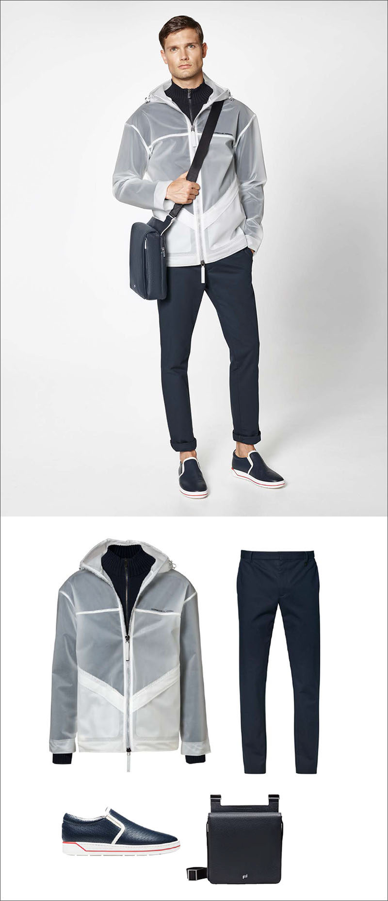 Men's Fashion Ideas - 17 Men's Outfits From Porsche Design's 2017 Spring/Summer Collection | This casual men's outfit, created by pairing a rain jacket with a built in sweater with a pair of navy blue cotton pants, a pair of navy blue slip on shoes, and a navy leather shoulder bag, is perfect for rainy spring days.