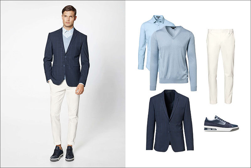 Men's Fashion Ideas - 17 Men's Outfits From Porsche Design's 2017 Spring/Summer Collection | A collared blue shirt layered under a light blue v-neck sweater and worn with a navy blazer, white cotton pants, and a pair of navy blue sneakers create a sophisticated looking men's outfit.