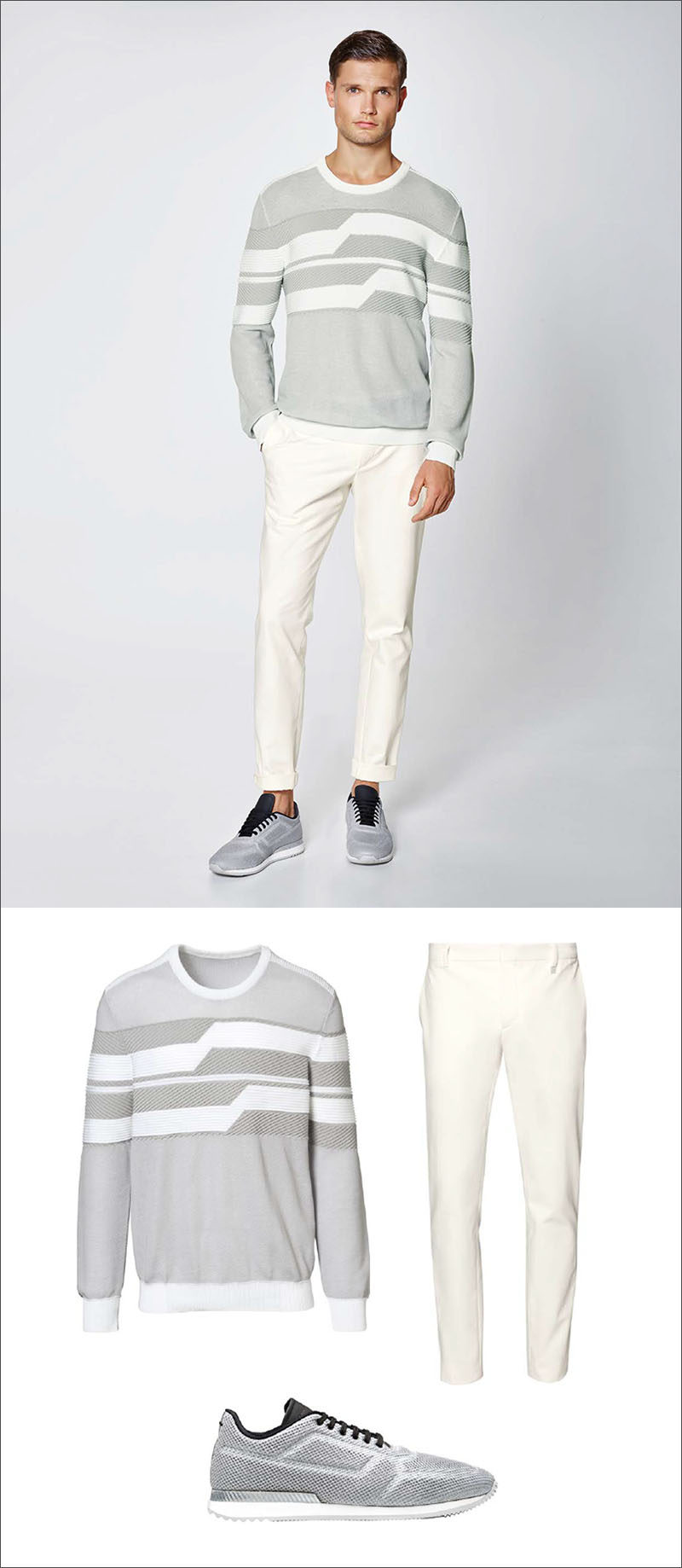 Men's Fashion Ideas - 17 Men's Outfits From Porsche Design's 2017 Spring/Summer Collection | A grey and white sweater with fitted cuffs, white cotton pants, and grey sneakers complete this simple everyday men's outfit.