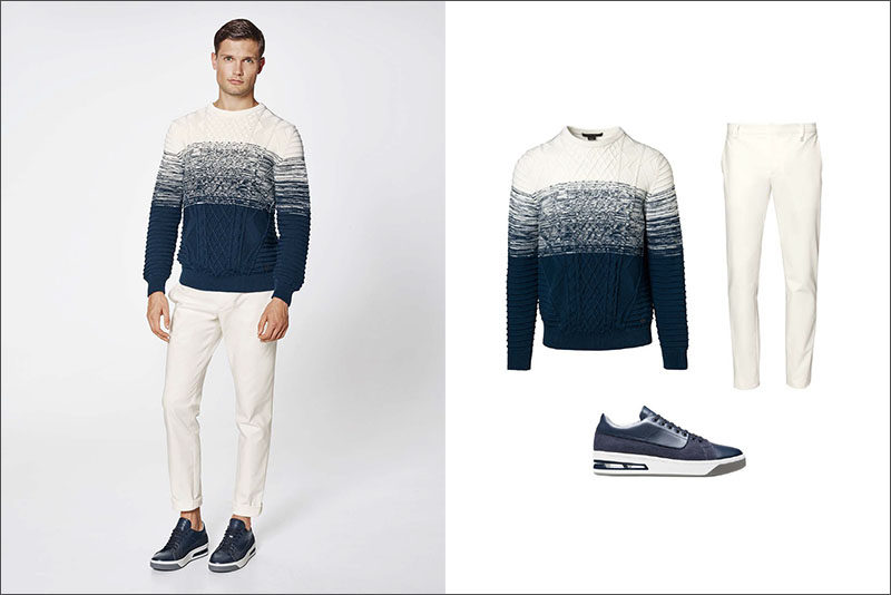 Men's Fashion Ideas - 17 Men's Outfits From Porsche Design's 2017 Spring/Summer Collection | This simple men's outfit is made up of an ombré cable knit sweater, white cotton pants, and navy blue sneakers that match the blues in the sweater to create the ultimate ensemble for early spring.