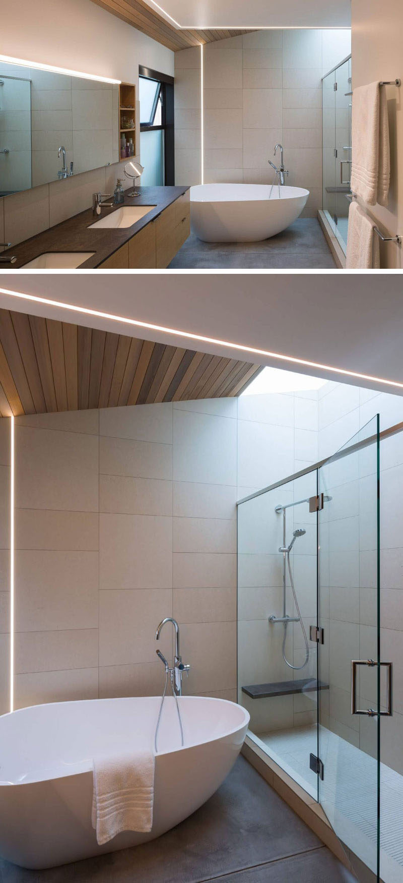 In this modern master bathroom, LED strips have been used to create evenly diffused soft lighting, while a skylight above the shower and a small window near the bath provide natural light to the space.