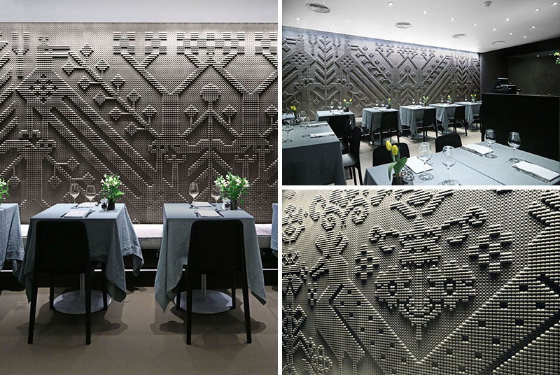 Chiseled Natural Stone Tapestries Cover The Walls Of This Restaurant