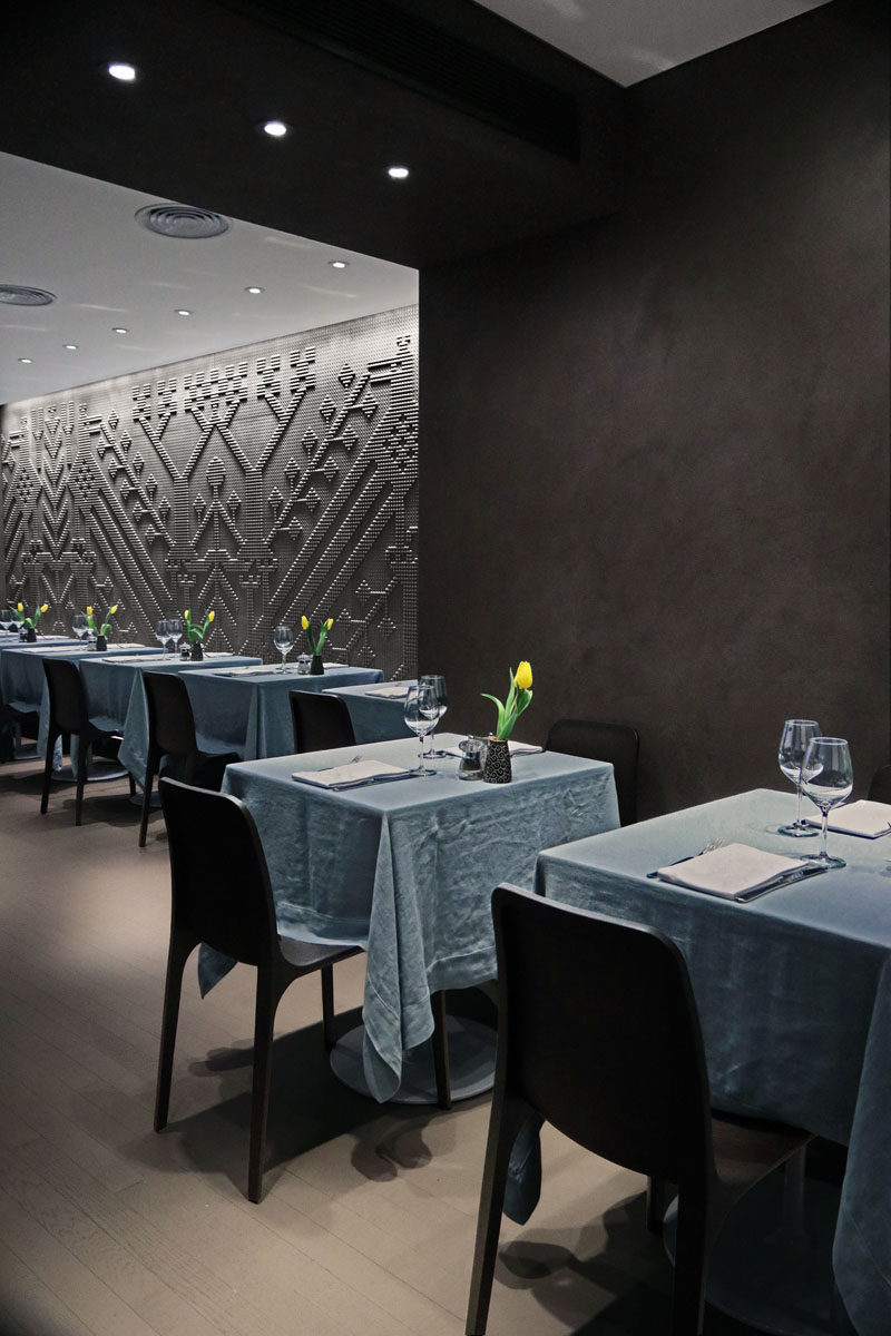 Chiseled Stone Tapestries Cover The Walls Of This Restaurant In London Contemporist
