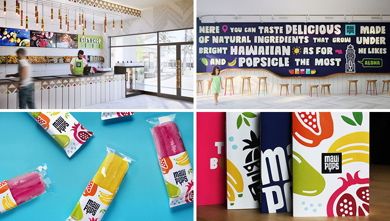 This fun interior and branding was designed for a new popsicle and juice store in Hawaii