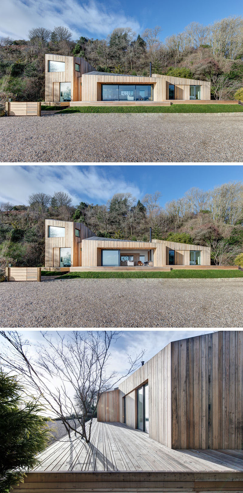 AR Design Studio have created a timber holiday home with water views that has a bright, comfortable and welcoming interior.
