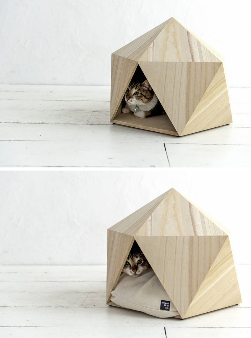 these geometric pet beds are an ideal resting spot for modern cats  - this small unique and modern pet bed made from wood is the perfect cat cave