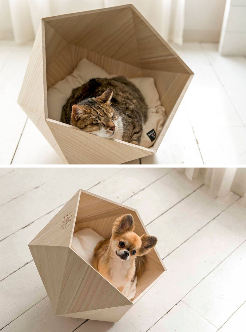 This small unique and modern pet bed made from wood is the perfect cave for your cat or dog.