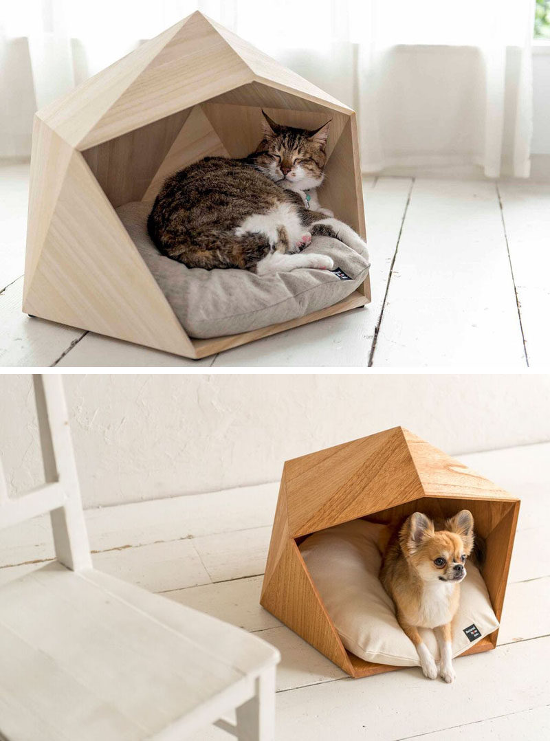 these geometric pet beds are an ideal resting spot for modern cats  - this small unique and modern pet bed made from wood is the perfect cave foryour