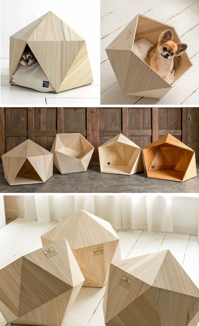 These small unique and modern pet beds made from wood, are like a little cave for your cat or dog.