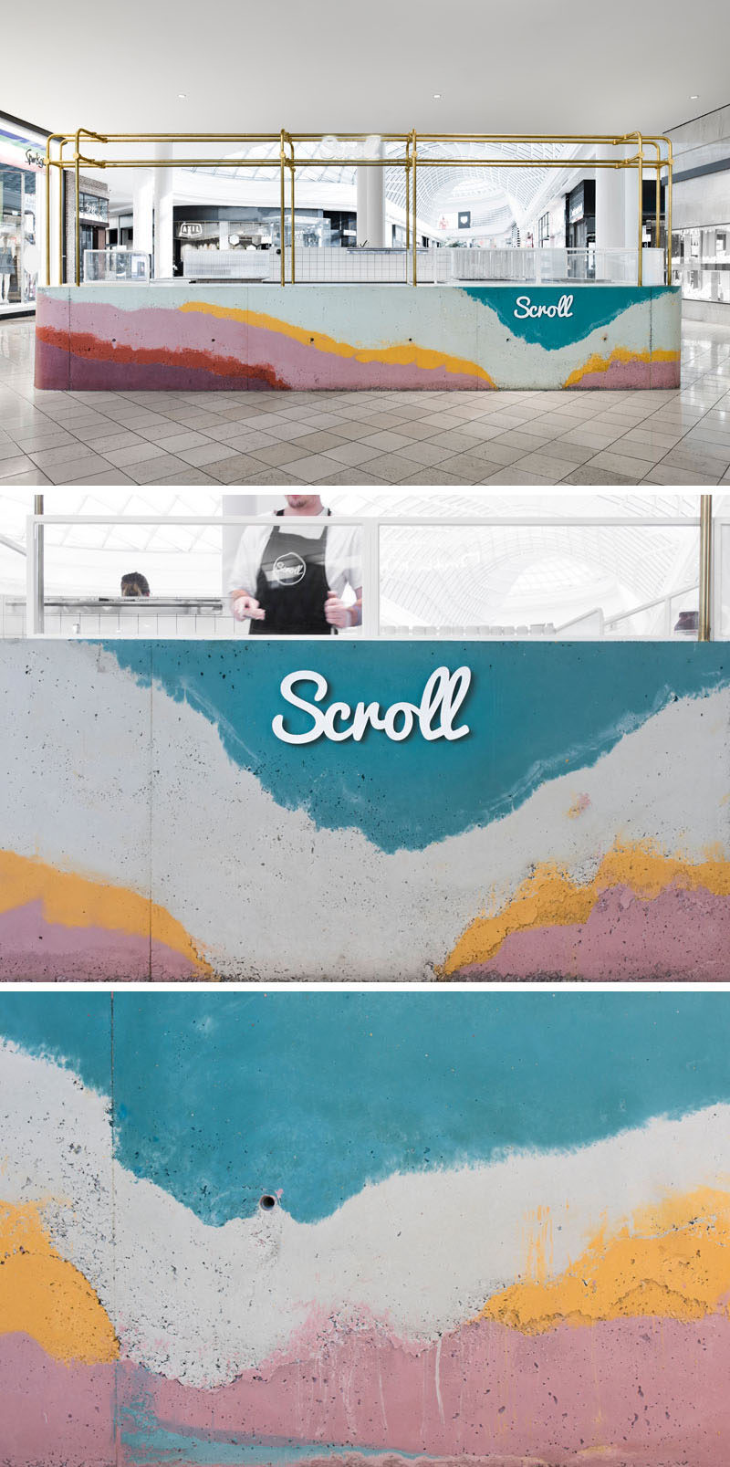 Layers of colorful concrete were poured onsite into a formwork mold to create a bar for Scroll Ice Cream's flagship store in Australia.