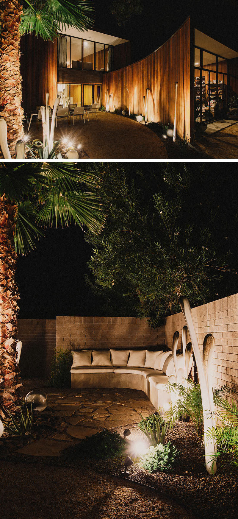 8 Outdoor Lighting Ideas To Inspire Your Spring Backyard Makeover / Uplighting - Make a statement in your backyard and garden by positioning lights under trees and plants as well as right up against a wall. It'll brighten the space while also making it look more dramatic and cozy.
