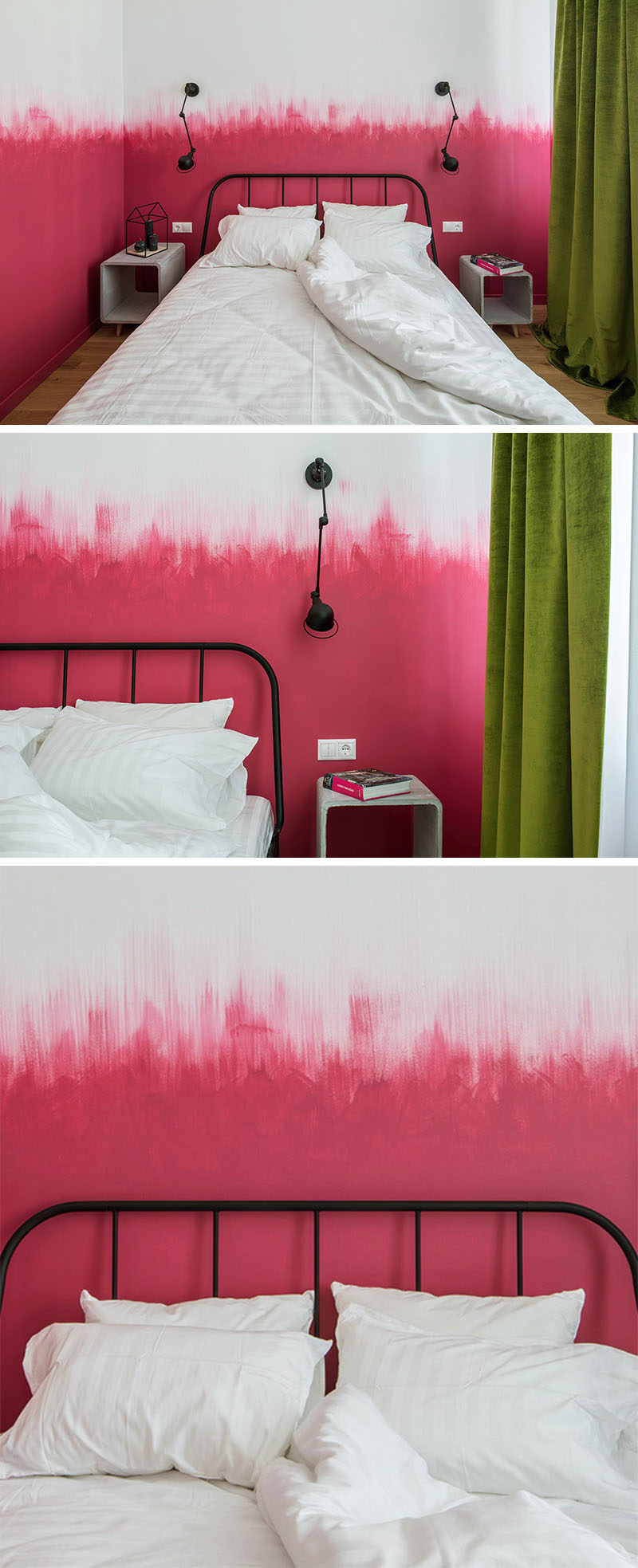 Oksana Dolgopiatova has designed a modern bedroom that features pink and white walls. While the lower part of the wall is solid pink, the top part of the pink blends into the white wall with visible vertical brush strokes creating an ombre effect.